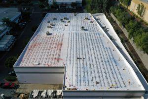 Mid construction shot, commercial solar at Nubs Plastics.